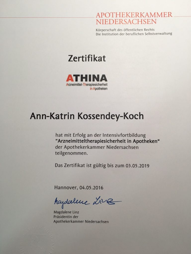 Zertifikat Apothekerkammer